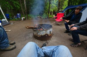 Camping with our eldest son and his friends in 2014.